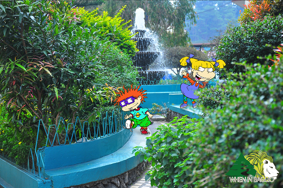Chuckie Finster and Angelica Pickles playing around the SLU fountain